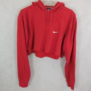 Nike Red Cropped oversized Hoodie size XL